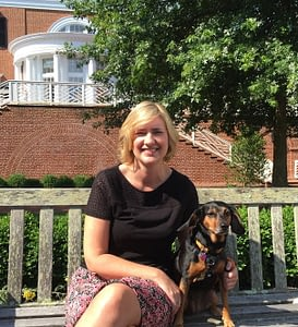 Sara with her dog, Dora, on the Darden campus this morning
