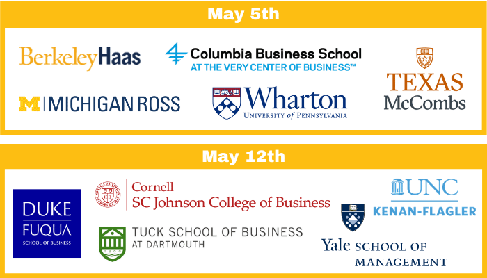 graphic with event dates and schools. May 5th: Berkeley / Haas, Columbia Business School, Michigan / Ross, UT Austin / McCombs, UPenn/ Wharton. May 12th: Cornell / Johnson, Dartmouth / Tuck, Duke / Fuqua, UNC / Kenan-Flagler, Yale School of Management