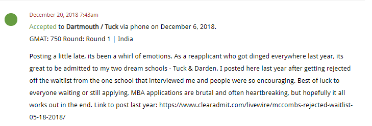 MBA LiveWire Spotlight: Rebound from Rejection